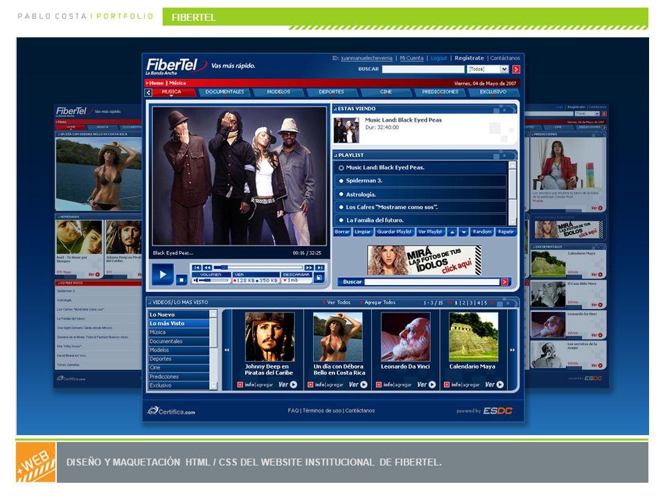DISEÑO Y MAQUETACIÓN HTML / CSS DEL WEBSITE INSTITUCIONAL DE FIBERTEL. FIBERTEL
