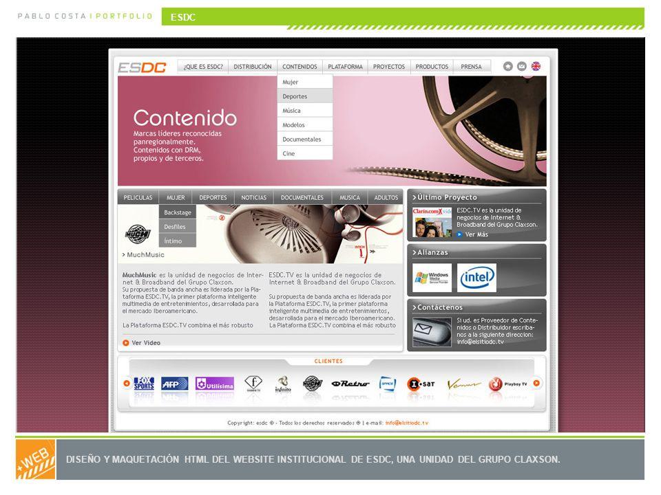 DISEÑO Y MAQUETACIÓN HTML DEL WEBSITE INSTITUCIONAL DE ESDC, UNA UNIDAD DEL GRUPO CLAXSON. ESDC