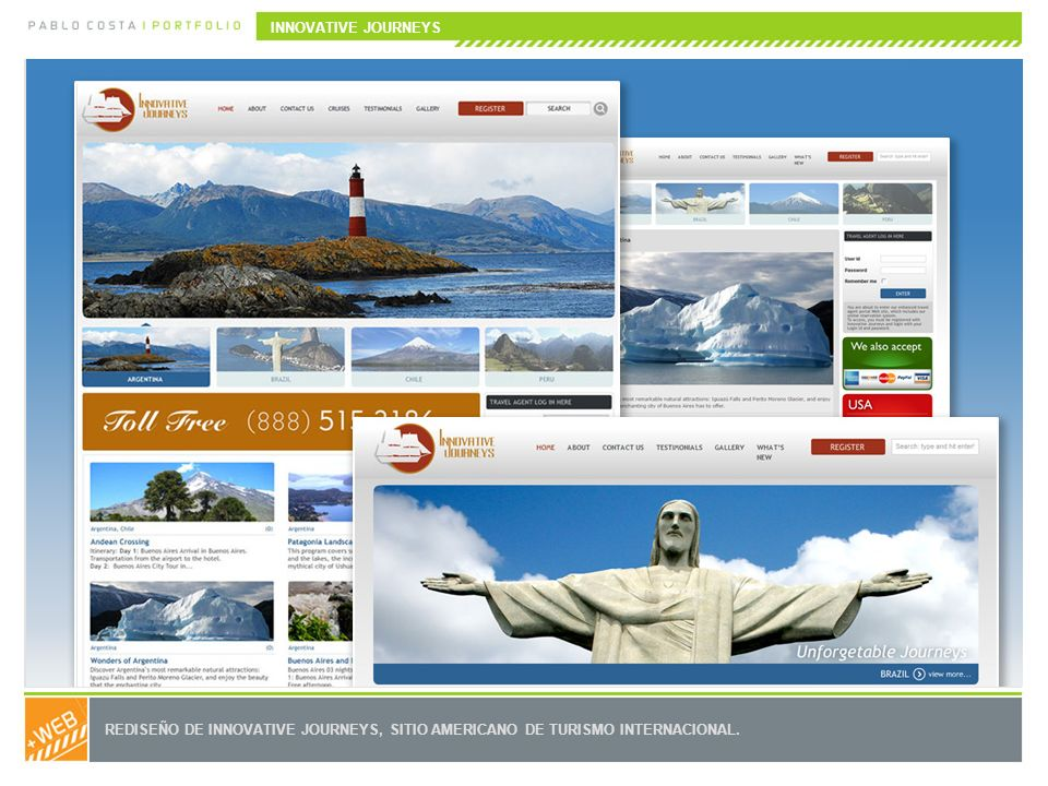 REDISEÑO DE INNOVATIVE JOURNEYS, SITIO AMERICANO DE TURISMO INTERNACIONAL. INNOVATIVE JOURNEYS