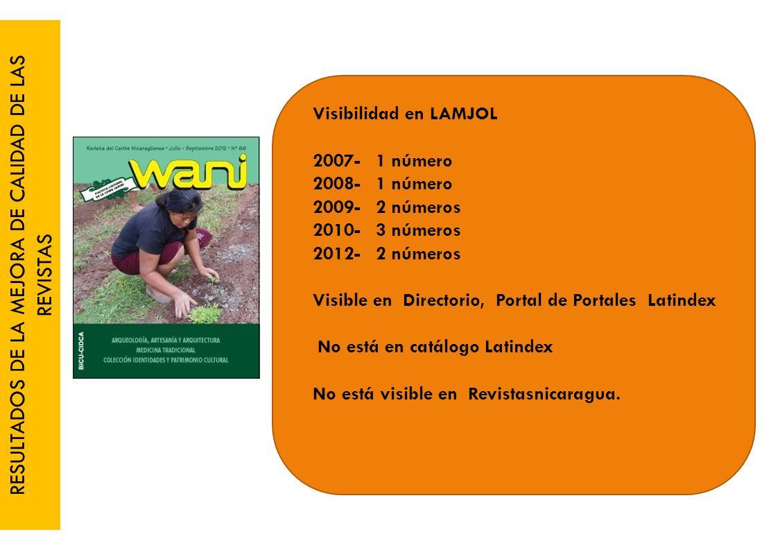 RESULTADOS DE LA MEJORA DE CALIDAD DE LAS REVISTAS Visibilidad en LAMJOL 2007- 1 número 2008- 1 número 2009- 2 números 2010- 3 números 2012- 2 números Visible en Directorio, Portal de Portales Latindex No está en catálogo Latindex No está visible en Revistasnicaragua.