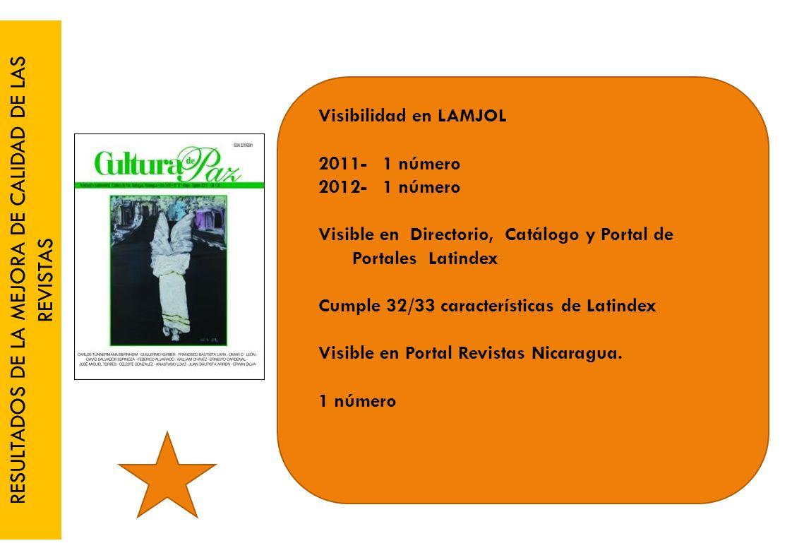 RESULTADOS DE LA MEJORA DE CALIDAD DE LAS REVISTAS Visibilidad en LAMJOL 2011- 1 número 2012- 1 número Visible en Directorio, Catálogo y Portal de Portales Latindex Cumple 32/33 características de Latindex Visible en Portal Revistas Nicaragua.
