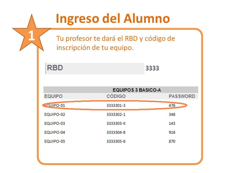 Ingreso del Alumno Tu profesor te dará el RBD y código de inscripción de tu equipo. 1