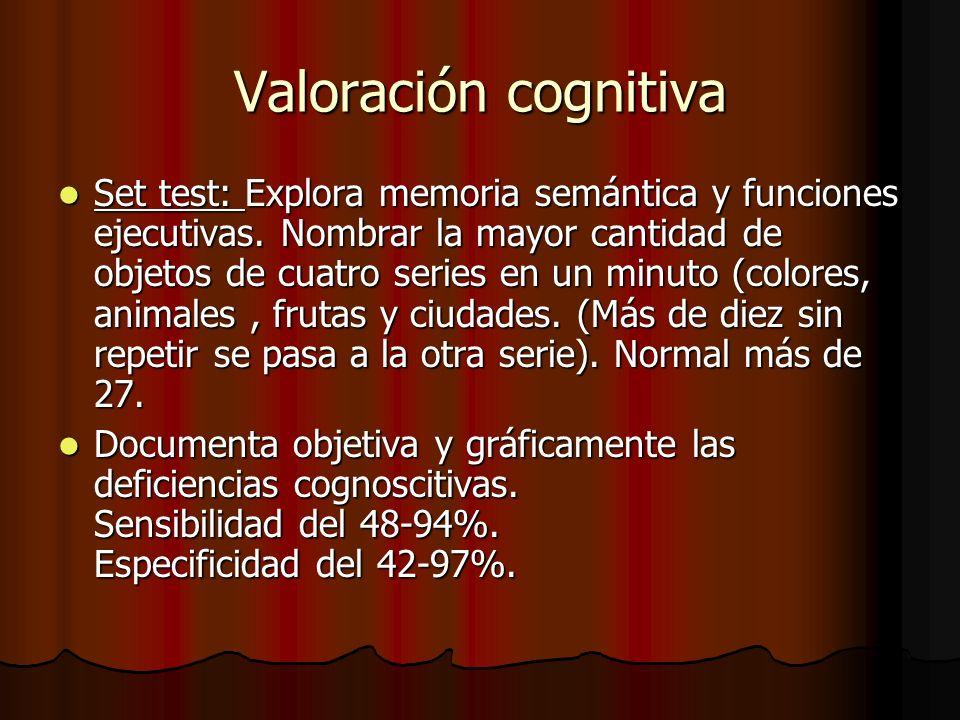 Valoración cognitiva Set test: Explora memoria semántica y funciones ejecutivas.