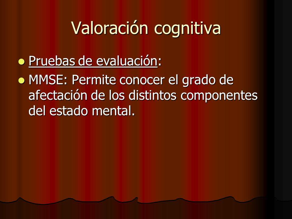 Valoración cognitiva Pruebas de evaluación: Pruebas de evaluación: MMSE: Permite conocer el grado de afectación de los distintos componentes del estado mental.