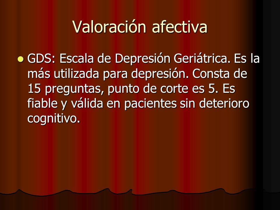 GDS: Escala de Depresión Geriátrica.Es la más utilizada para depresión.