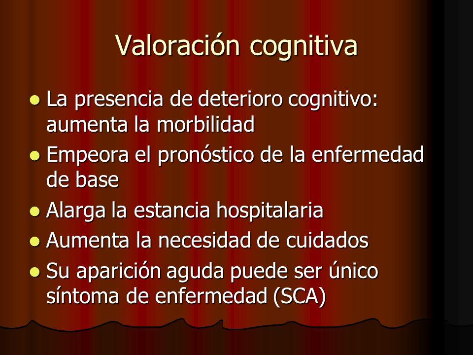 Valoración cognitiva Deterioro cognitivo.Prevalencia: Deterioro cognitivo.