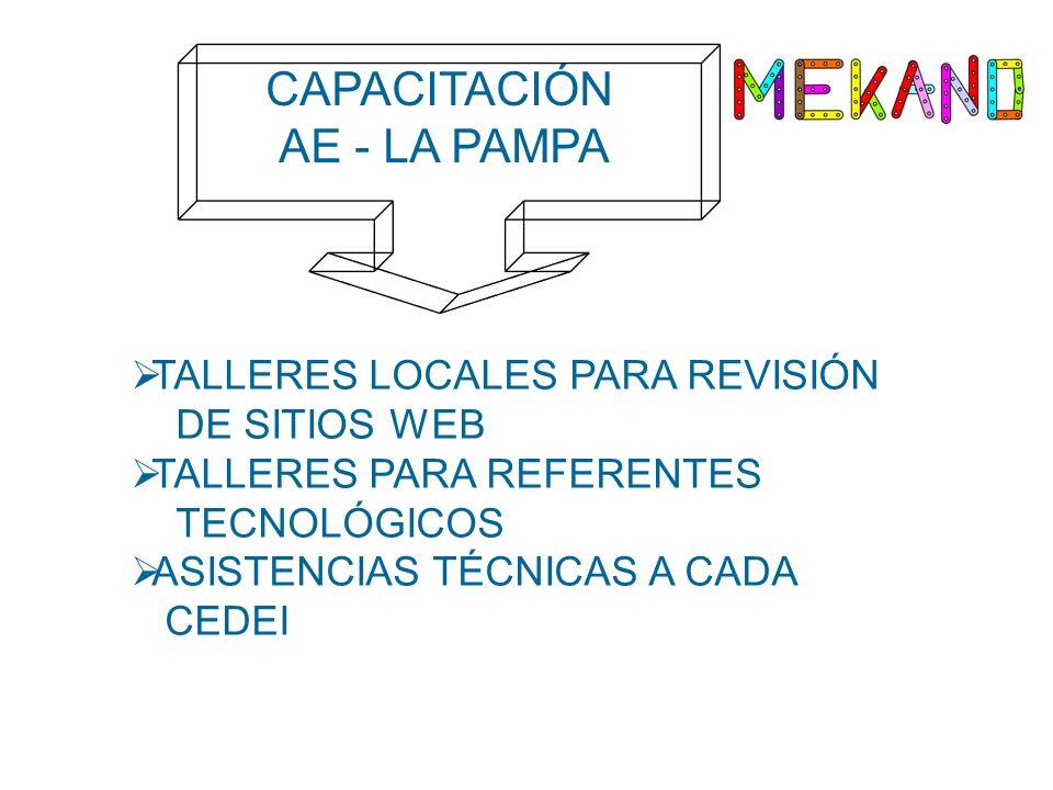CAPACITACIÓN AE - LA PAMPA TALLERES LOCALES PARA REVISIÓN DE SITIOS WEB TALLERES PARA REFERENTES TECNOLÓGICOS ASISTENCIAS TÉCNICAS A CADA CEDEI