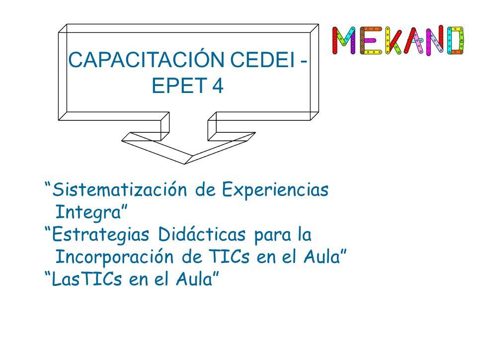 CAPACITACIÓN CEDEI - EPET 4 Sistematización de Experiencias Integra Estrategias Didácticas para la Incorporación de TICs en el Aula LasTICs en el Aula