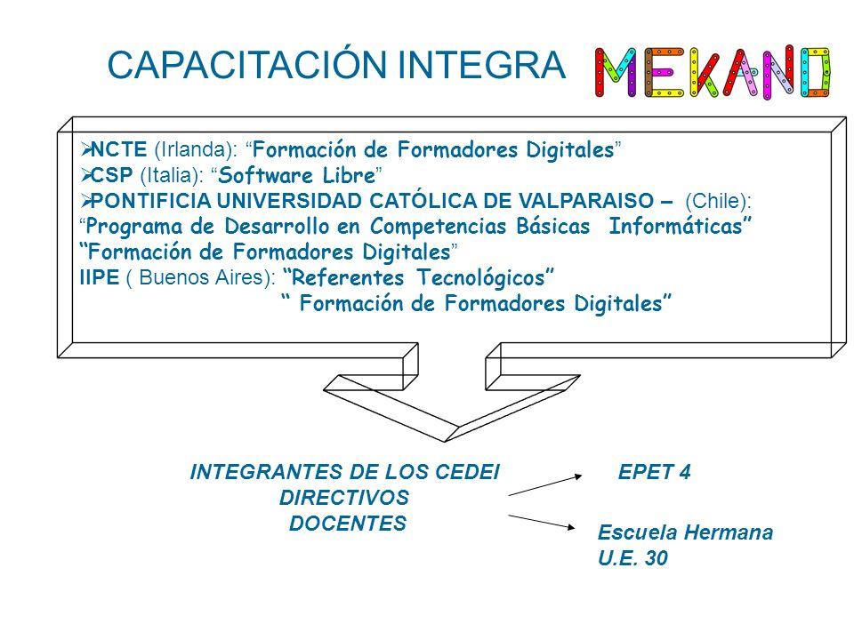 CAPACITACIÓN INTEGRA NCTE (Irlanda): Formación de Formadores Digitales CSP (Italia): Software Libre PONTIFICIA UNIVERSIDAD CATÓLICA DE VALPARAISO – (Chile): Programa de Desarrollo en Competencias Básicas Informáticas Formación de Formadores Digitales IIPE ( Buenos Aires): Referentes Tecnológicos Formación de Formadores Digitales INTEGRANTES DE LOS CEDEI DIRECTIVOS DOCENTES EPET 4 Escuela Hermana U.E.