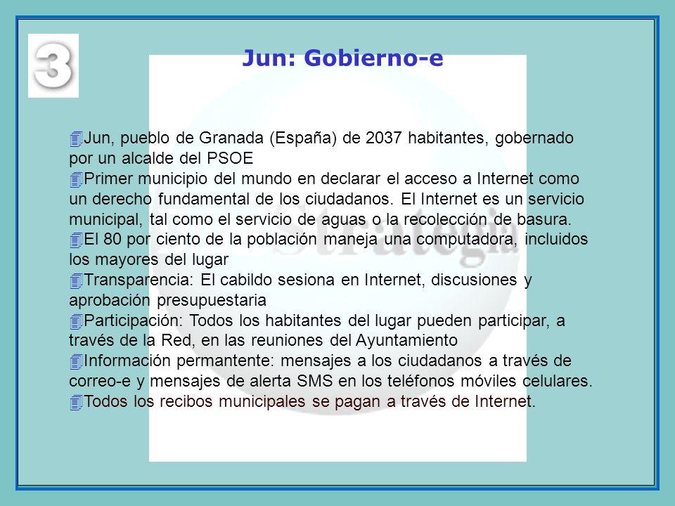 Jun: Gobierno-e 4Jun, pueblo de Granada (España) de 2037 habitantes, gobernado por un alcalde del PSOE 4Primer municipio del mundo en declarar el acce