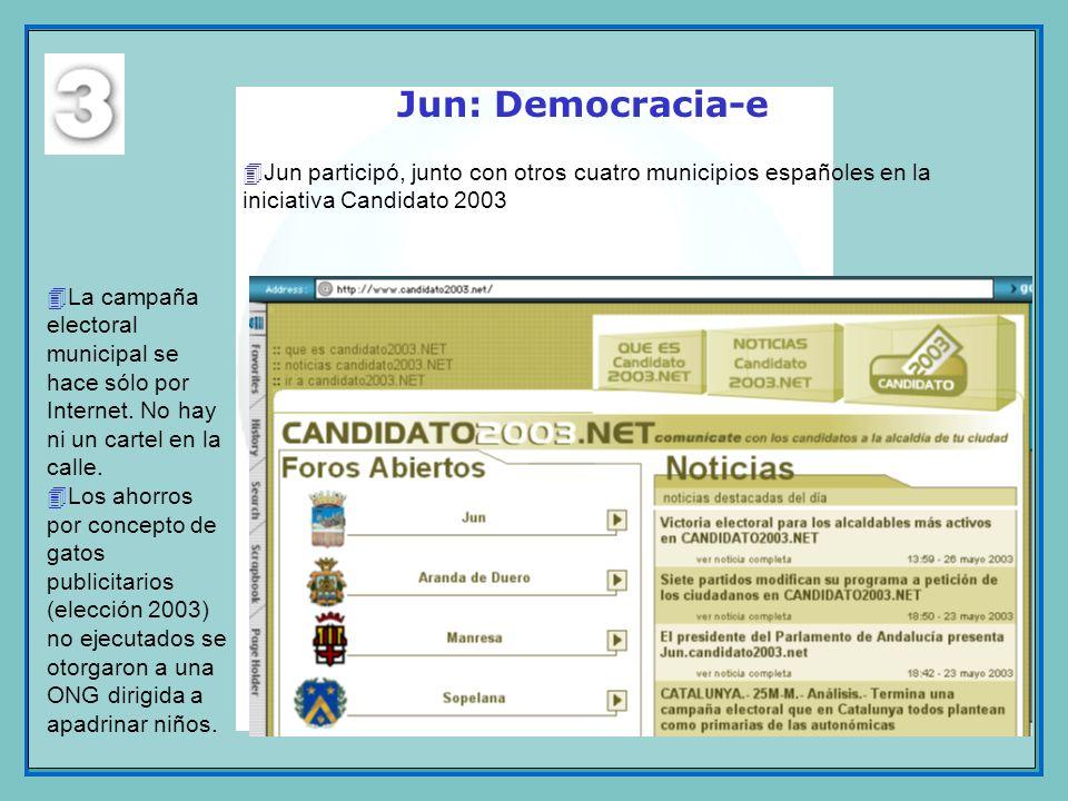 Jun: Democracia-e 4La campaña electoral municipal se hace sólo por Internet. No hay ni un cartel en la calle. 4Los ahorros por concepto de gatos publi