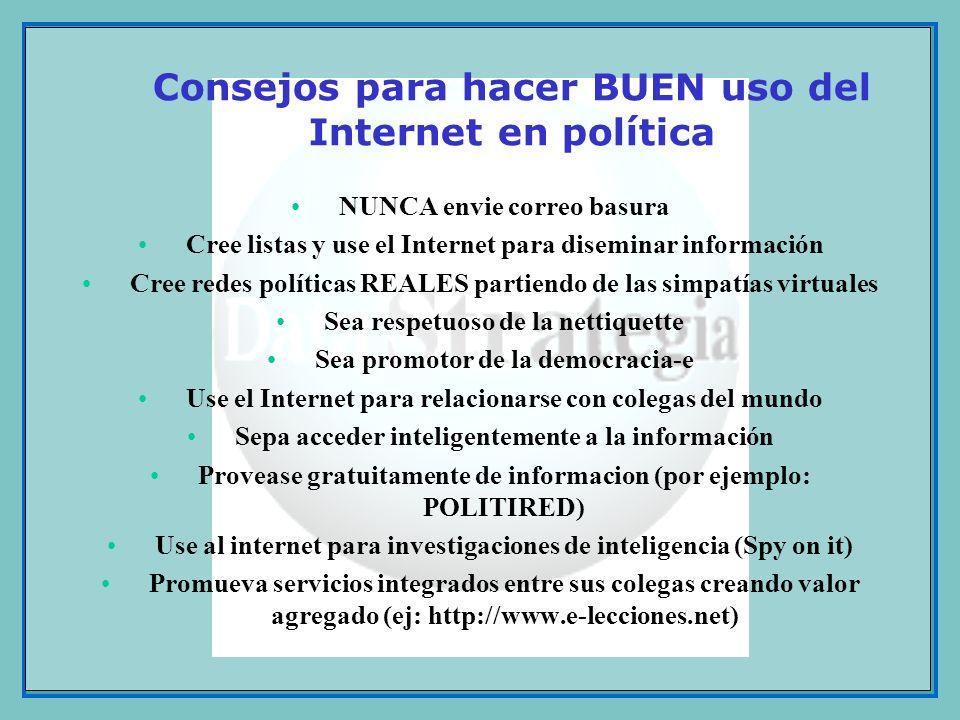 Consejos para hacer BUEN uso del Internet en política NUNCA envie correo basura Cree listas y use el Internet para diseminar información Cree redes po
