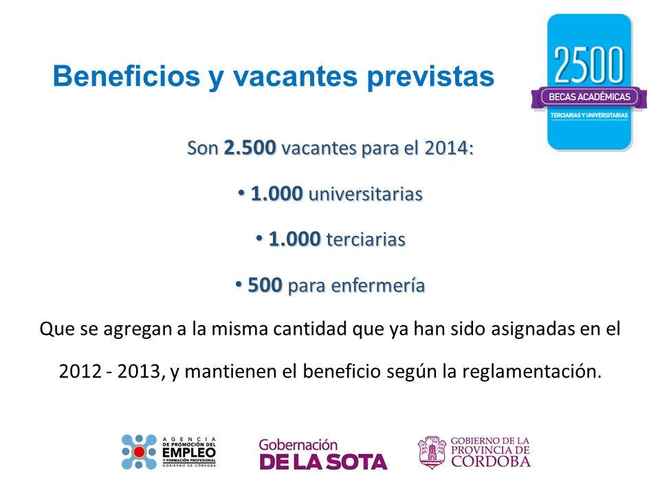 Beneficios y vacantes previstas Son 2.500 vacantes para el 2014: 1.000 universitarias 1.000 universitarias 1.000 terciarias 1.000 terciarias 500 para