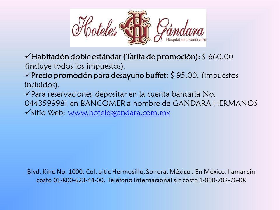 Habitación doble estándar (Tarifa de promoción): $ 660.00 (incluye todos los impuestos).