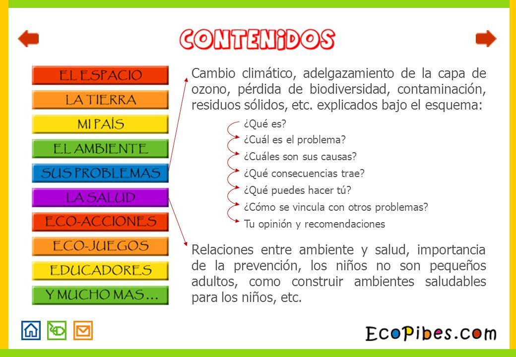 Cambio climático, adelgazamiento de la capa de ozono, pérdida de biodiversidad, contaminación, residuos sólidos, etc. explicados bajo el esquema: Rela