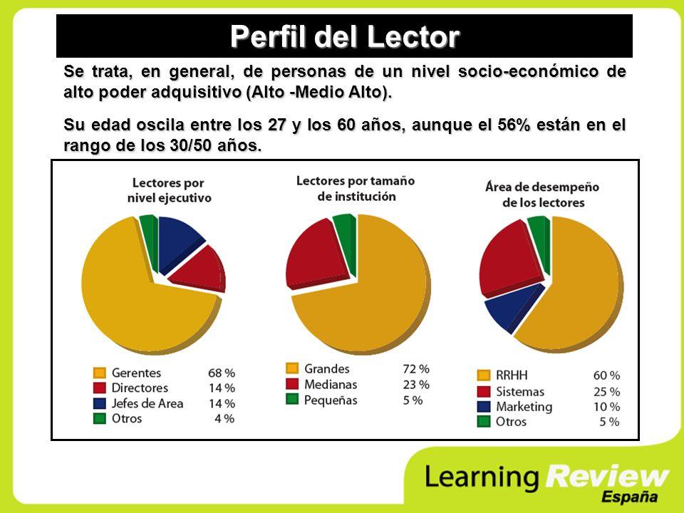 Perfil del Lector Se trata, en general, de personas de un nivel socio-económico de alto poder adquisitivo (Alto -Medio Alto).