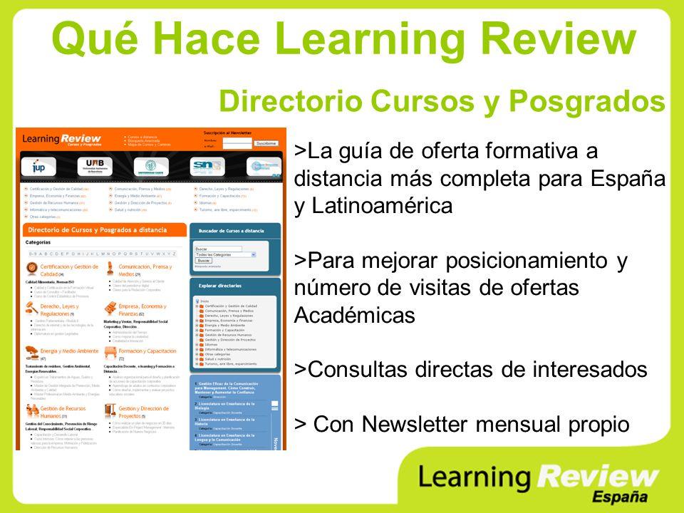 Qué Hace Learning Review Directorio Cursos y Posgrados >La guía de oferta formativa a distancia más completa para España y Latinoamérica >Para mejorar