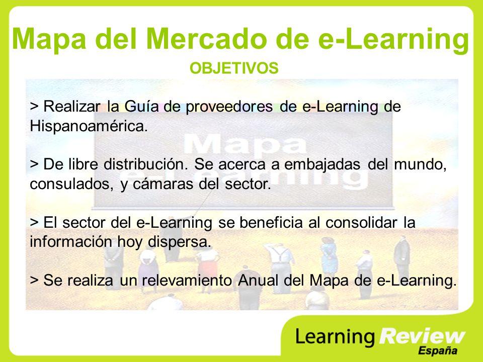 Mapa del Mercado de e-Learning > Realizar la Guía de proveedores de e-Learning de Hispanoamérica.