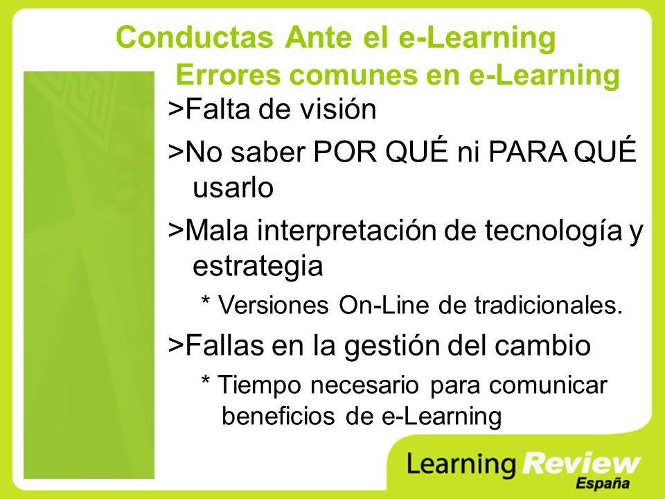 Errores comunes en e-Learning >Falta de visión >No saber POR QUÉ ni PARA QUÉ usarlo >Mala interpretación de tecnología y estrategia * Versiones On-Lin