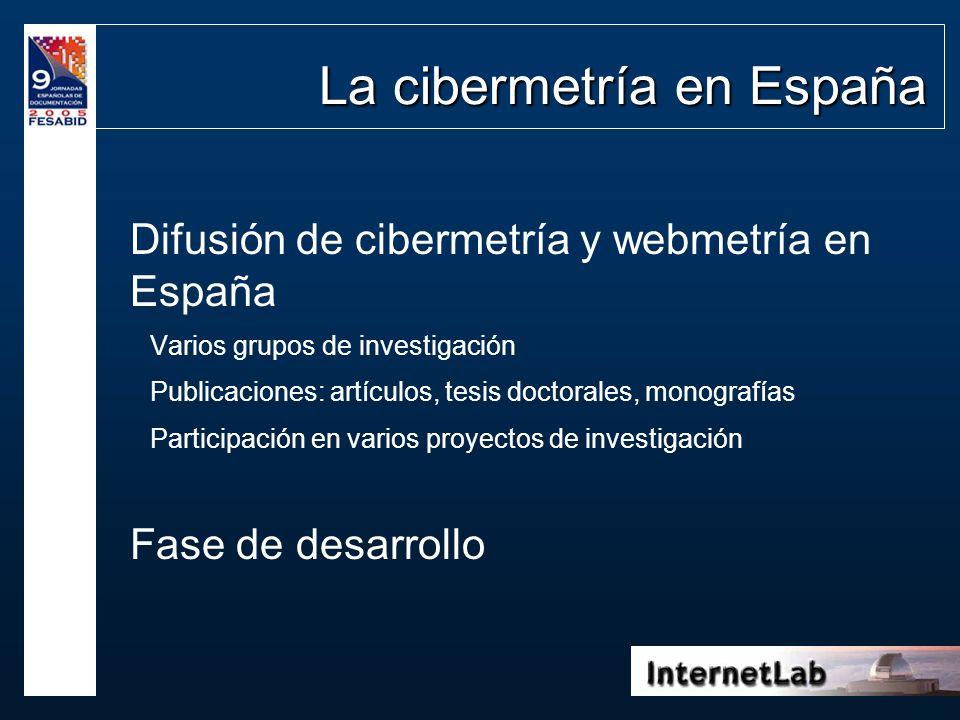 La cibermetría en España Difusión de cibermetría y webmetría en España Varios grupos de investigación Publicaciones: artículos, tesis doctorales, mono