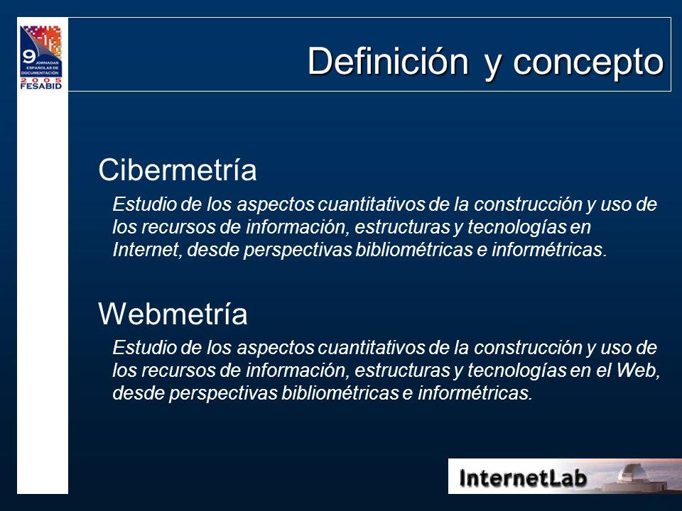 Definición y concepto Cibermetría Estudio de los aspectos cuantitativos de la construcción y uso de los recursos de información, estructuras y tecnolo