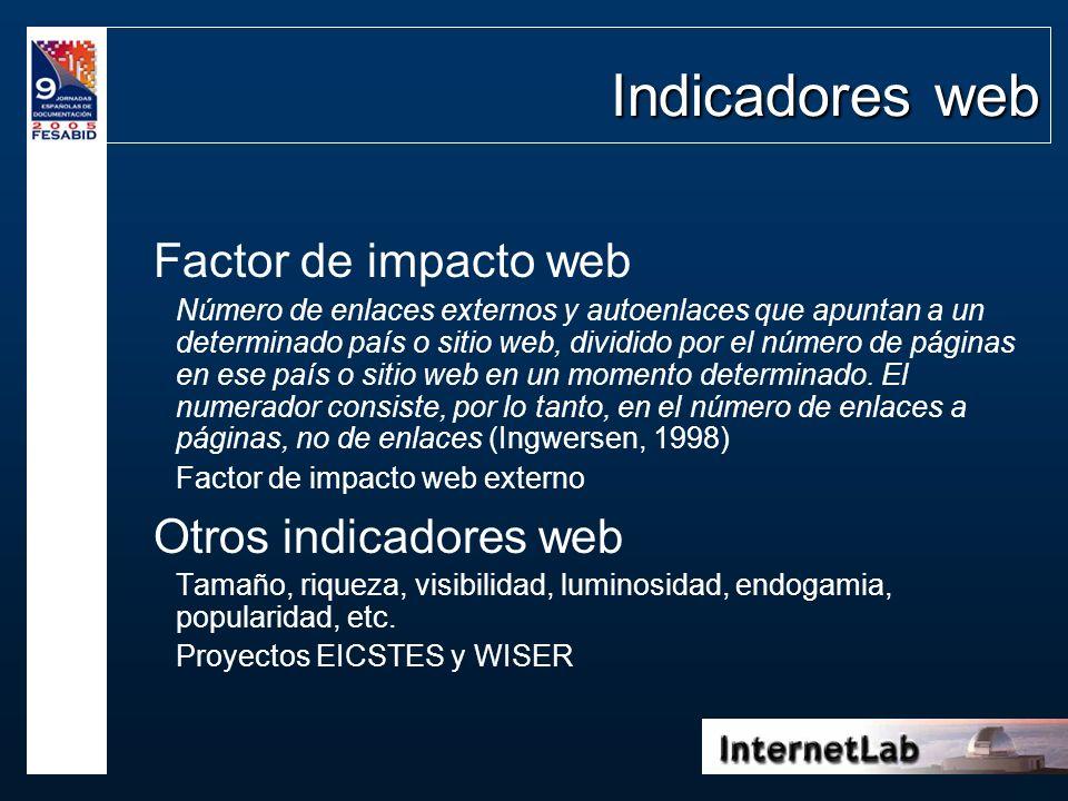 Indicadores web Factor de impacto web Número de enlaces externos y autoenlaces que apuntan a un determinado país o sitio web, dividido por el número d