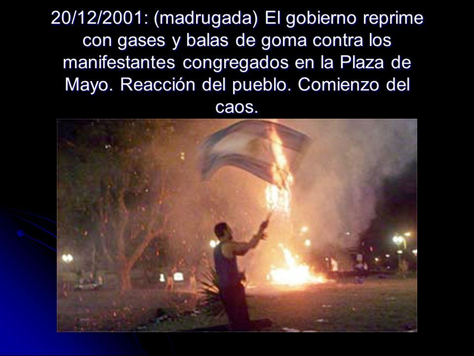 20/12/2001: (madrugada) El gobierno reprime con gases y balas de goma contra los manifestantes congregados en la Plaza de Mayo. Reacción del pueblo. C