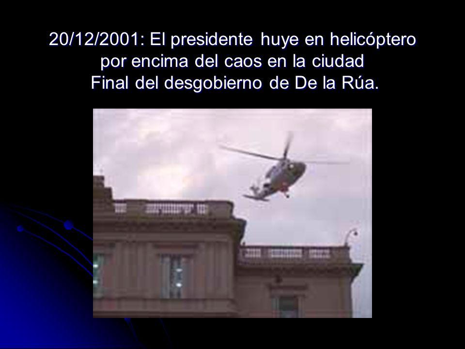 20/12/2001: El presidente huye en helicóptero por encima del caos en la ciudad Final del desgobierno de De la Rúa.