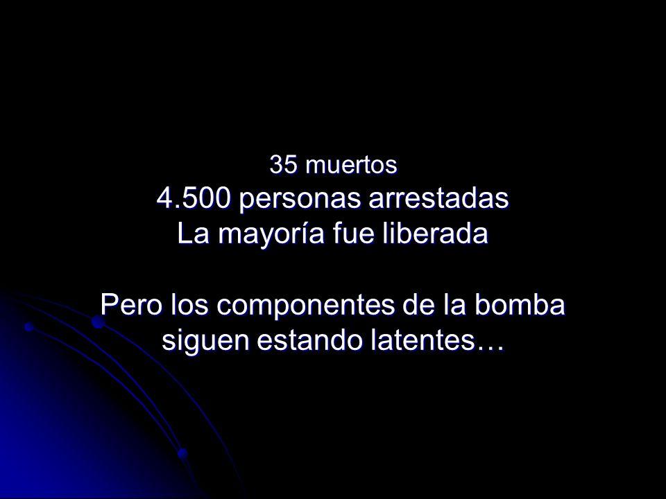 35 muertos 4.500 personas arrestadas La mayoría fue liberada Pero los componentes de la bomba siguen estando latentes…