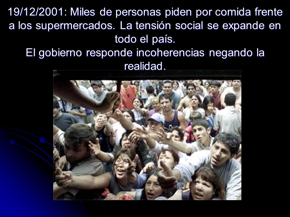 19/12/2001: Miles de personas piden por comida frente a los supermercados. La tensión social se expande en todo el país. El gobierno responde incohere