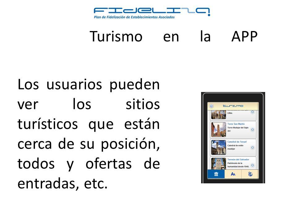 Los usuarios pueden ver los sitios turísticos que están cerca de su posición, todos y ofertas de entradas, etc.