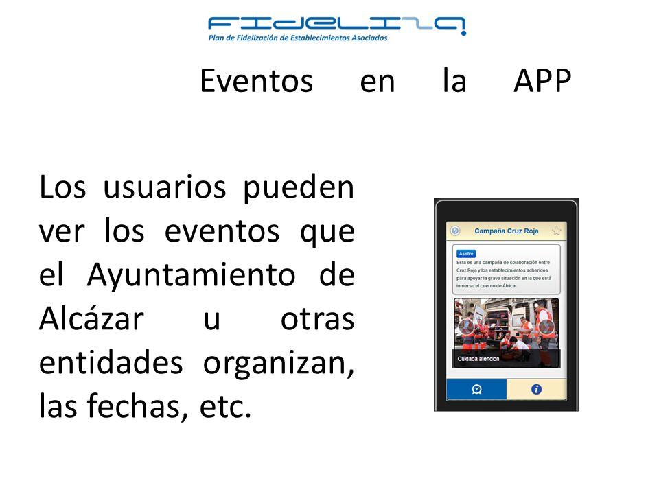 Los usuarios pueden ver los eventos que el Ayuntamiento de Alcázar u otras entidades organizan, las fechas, etc.