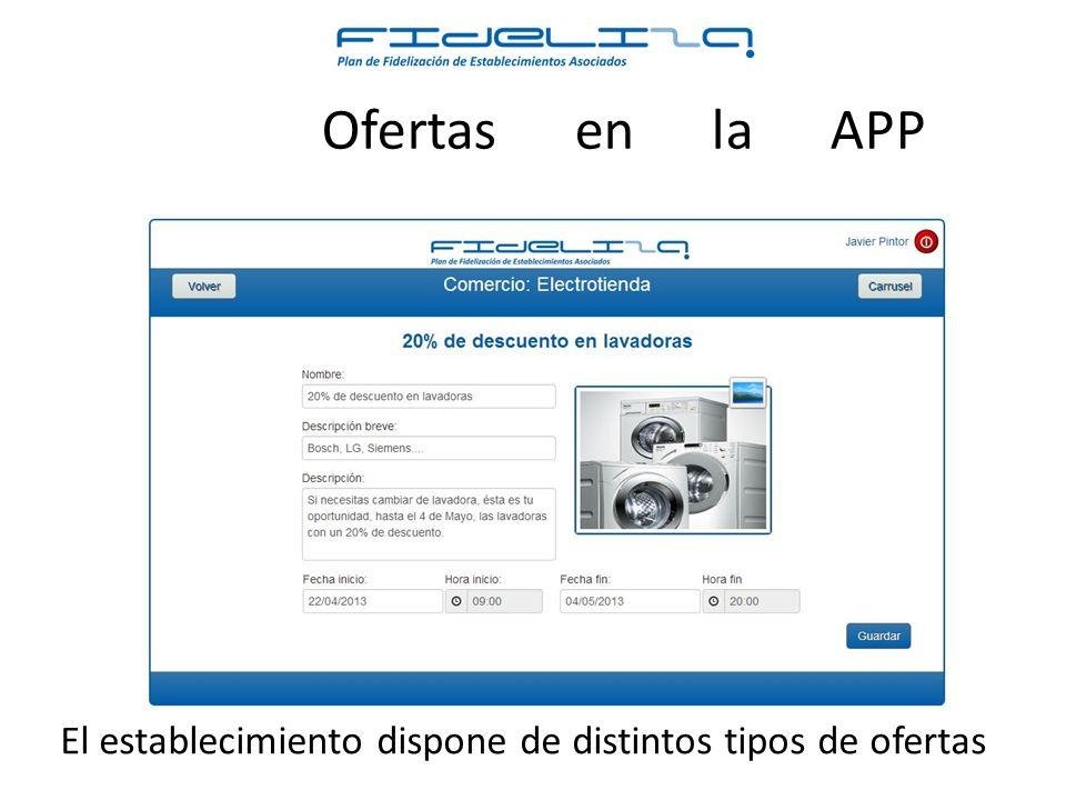 El establecimiento dispone de distintos tipos de ofertas Ofertas en la APP