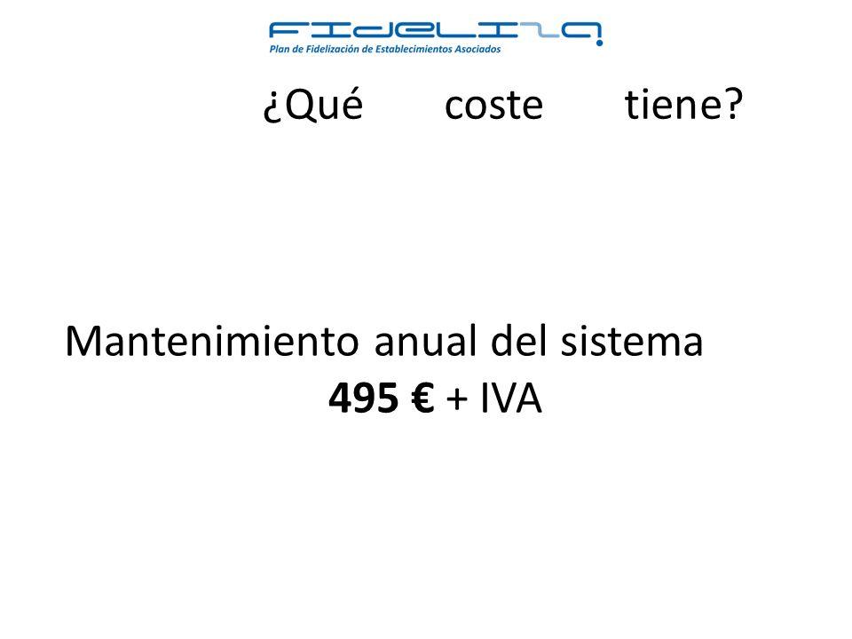 ¿Qué coste tiene Mantenimiento anual del sistema 495 + IVA
