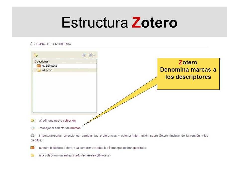 Estructura Zotero Zotero Denomina marcas a los descriptores