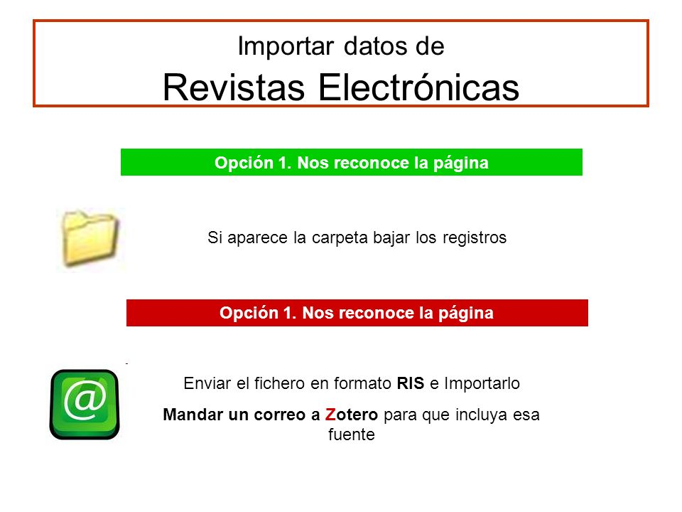 Importar datos de Revistas Electrónicas Opción 1.
