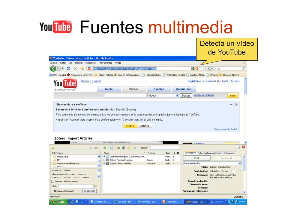 Fuentes multimedia Detecta un vídeo de YouTube