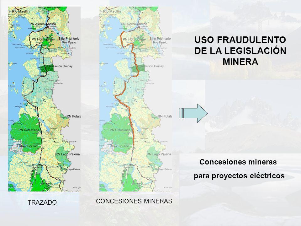 USO FRAUDULENTO DE LA LEGISLACIÓN MINERA TRAZADO CONCESIONES MINERAS Concesiones mineras para proyectos eléctricos