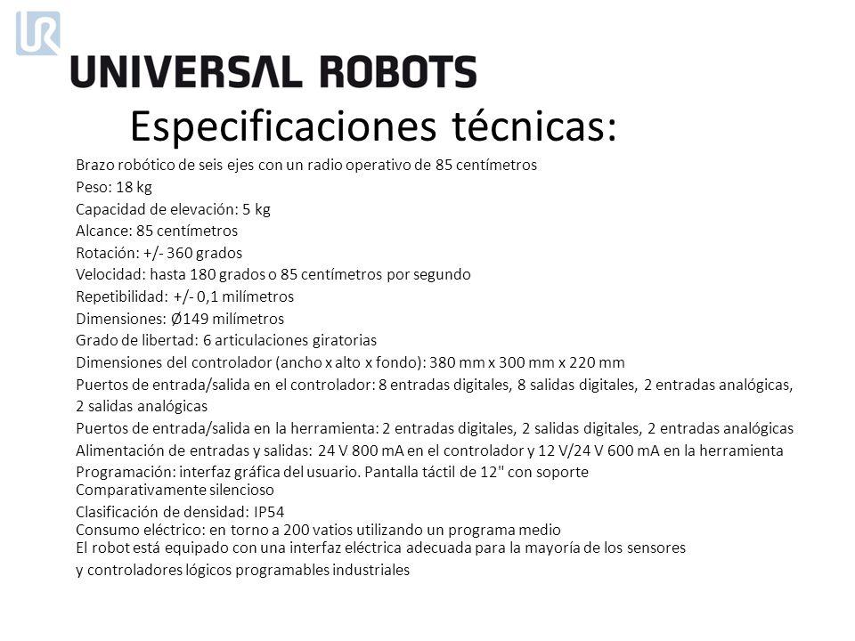 Brazo robótico de seis ejes con un radio operativo de 85 centímetros Peso: 18 kg Capacidad de elevación: 5 kg Alcance: 85 centímetros Rotación: +/- 36