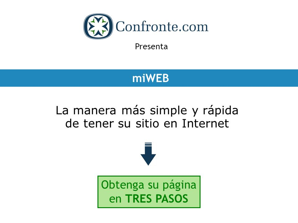 Presenta miWEB La manera más simple y rápida de tener su sitio en Internet Obtenga su página en TRES PASOS