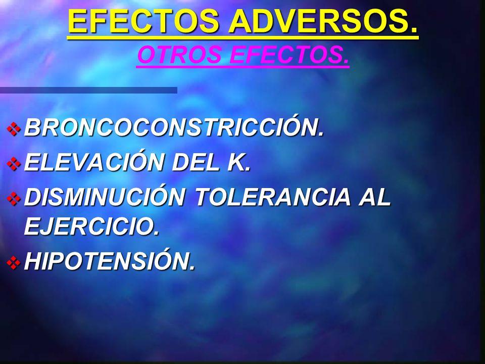 EFECTOS ADVERSOS.HIDRATOS DE CARBONOS Y LÍPIDOS. ENMASCARAN SÍNTOMAS DE HIPOGLUCEMIA.