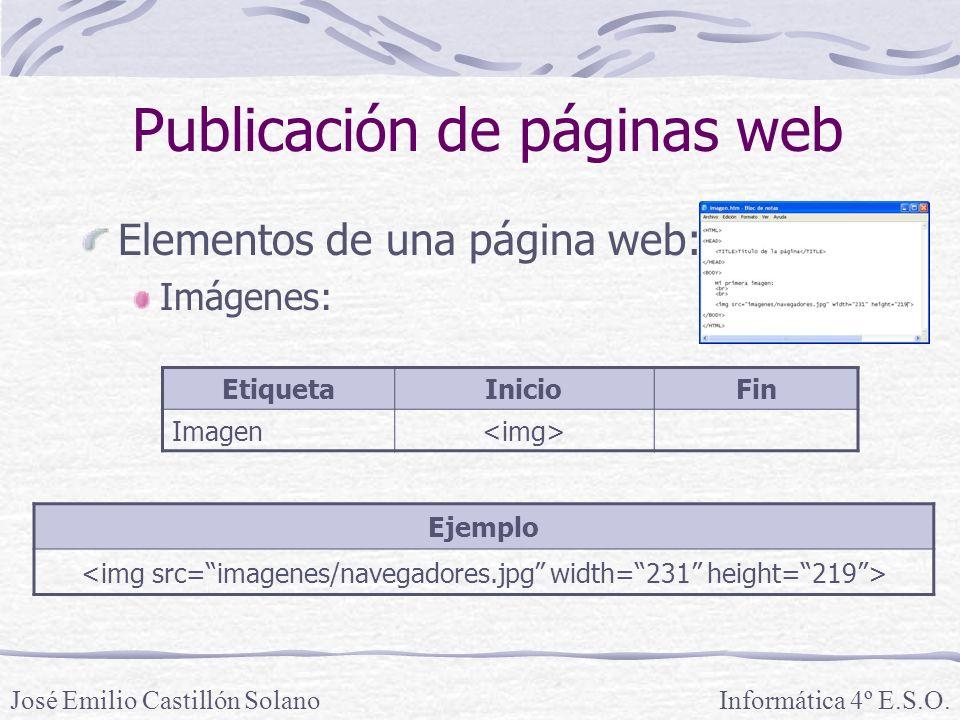 Elementos de una página web: Imágenes: Informática 4º E.S.O.José Emilio Castillón Solano Publicación de páginas web Ejemplo EtiquetaInicioFin Imagen
