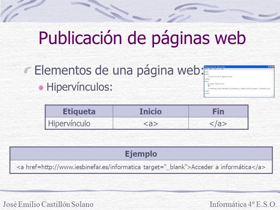 Elementos de una página web: Hipervínculos: Informática 4º E.S.O.José Emilio Castillón Solano Publicación de páginas web Ejemplo Acceder a informática EtiquetaInicioFin Hipervínculo