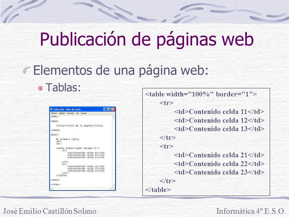 Elementos de una página web: Tablas: Informática 4º E.S.O.José Emilio Castillón Solano Publicación de páginas web Contenido celda 11 Contenido celda 1