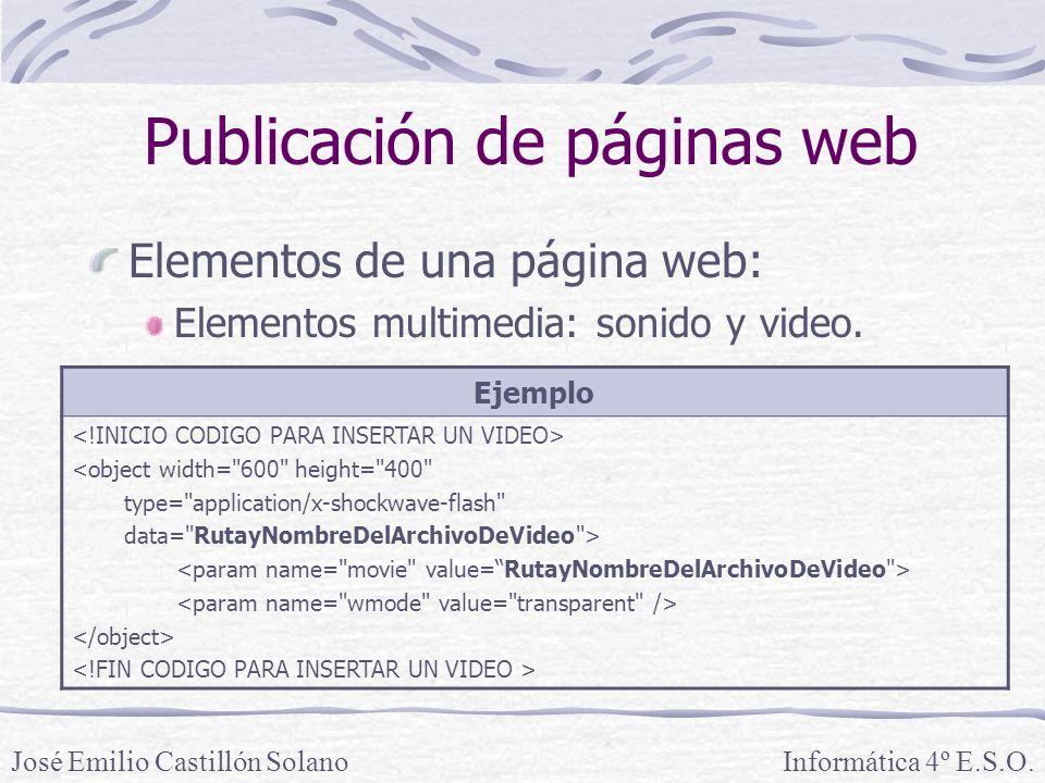 Elementos de una página web: Elementos multimedia: sonido y video. Informática 4º E.S.O.José Emilio Castillón Solano Publicación de páginas web Ejempl