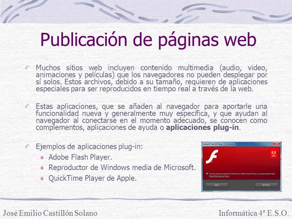 Muchos sitios web incluyen contenido multimedia (audio, video, animaciones y películas) que los navegadores no pueden desplegar por sí solos. Estos ar