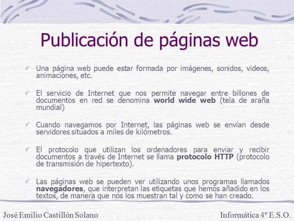 Una página web puede estar formada por imágenes, sonidos, videos, animaciones, etc. El servicio de Internet que nos permite navegar entre billones de