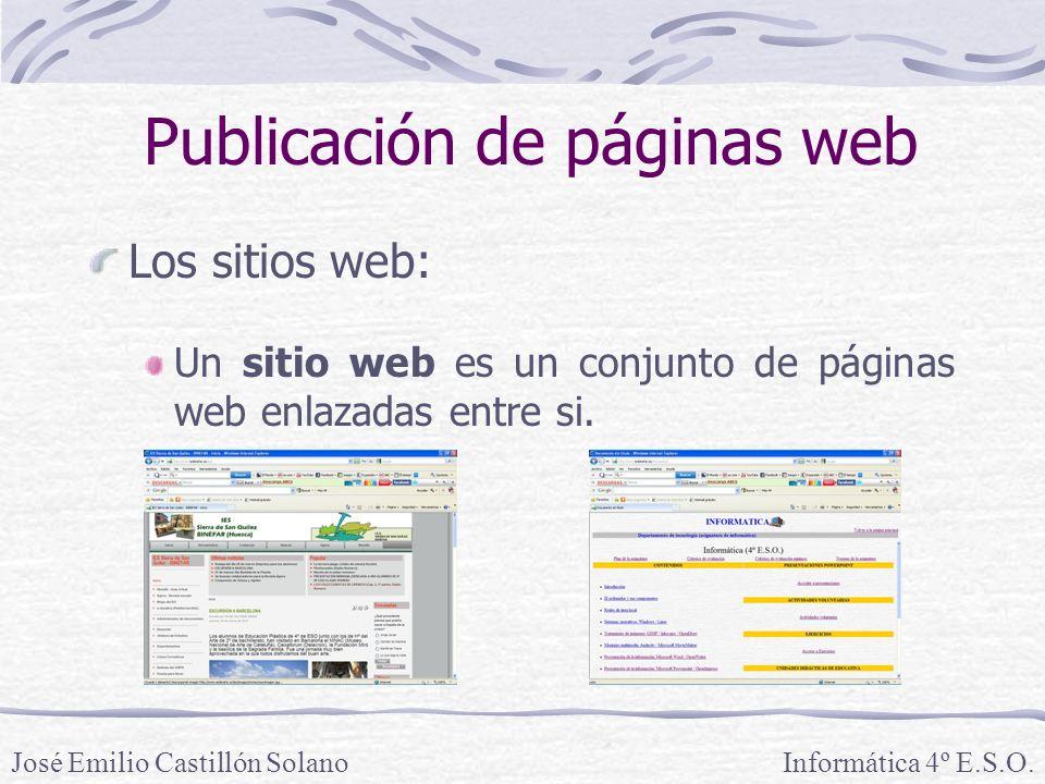 Los sitios web: Un sitio web es un conjunto de páginas web enlazadas entre si. Informática 4º E.S.O.José Emilio Castillón Solano Publicación de página