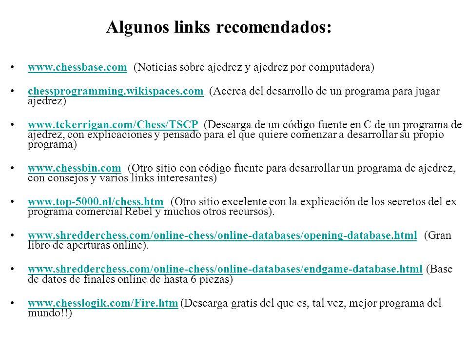 Algunos links recomendados: www.chessbase.com (Noticias sobre ajedrez y ajedrez por computadora)www.chessbase.com chessprogramming.wikispaces.com (Ace
