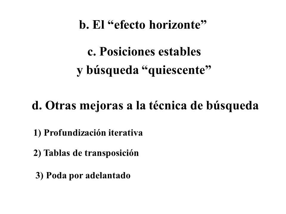 b. El efecto horizonte c. Posiciones estables y búsqueda quiescente d. Otras mejoras a la técnica de búsqueda 1) Profundización iterativa 2) Tablas de